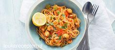Paella zonder rijst maar met spaghetti eenzelfde lekkere saus met garnalen en saffraan