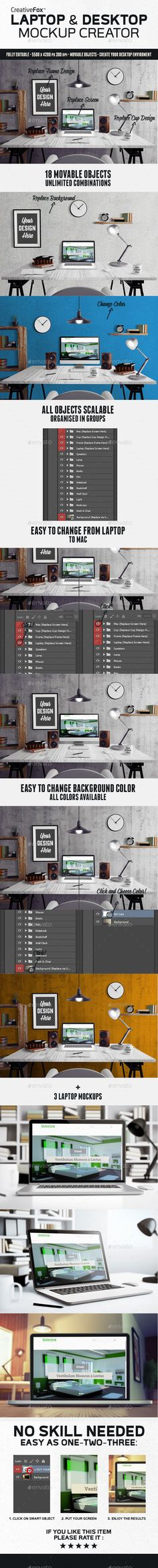 Laptop & Desktop Mockup Creator - PSD Template • Only available here! →…