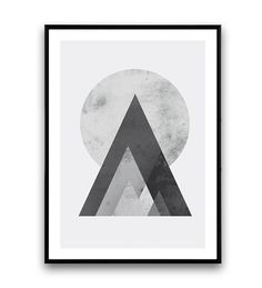Abstract mountains print, geometric print, Abstract art, Minimalist print, nordic style, monochrome art, watercolor,gray, wall print, poster