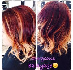 Love my new color! Red and blonde balayage lob long bob