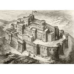 Artists Impression Of Krak Or Crac Des Chevaliers Crusader Castle Syria From Military And Religious Life In The Middle Ages By Paul Lacroix Published London Circa 1880 Canvas Art - Ken Welsh Design P