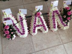 NAN letter tribute funeral flowers by Lily White Florist Sutton Coldfield
