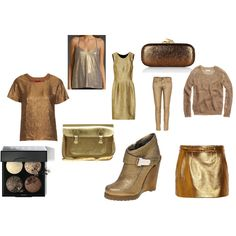 Metallic for the holidays, created by meredithsinclair.polyvore.com