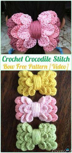 Crochet Crocodile Stitch Bow Free Pattern [Video]- Crochet Bow Free Patterns