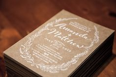 """I wanted to create unique invites for my good friends Amanda and Matthew without blowing their budget. By illustrating and making a stamp to """"print"""" the detail, we were able to create our own take on a printing press (along with some good ol' fashioned el…"""