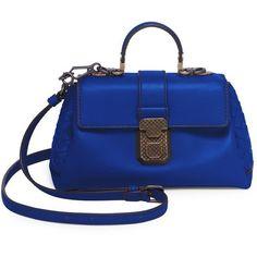Bottega Veneta Weave Top Handle Bag (€2.065) ❤ liked on Polyvore featuring bags, handbags, shoulder bags, man bag, handle handbag, blue hand bag, handbags shoulder bags and blue shoulder bag