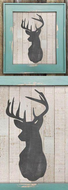 Fixer Upper Decor, Rustic Deer Head Print, Farmhouse Wall Decor, Wood Wall Art, Modern Farmhouse, Deer Nursery Decor, Rustic Wall Décor, #ad