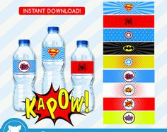 INSTANT DOWNLOAD Superhero Water Bottle by OrangeOrchidDigital