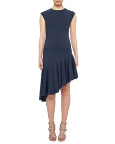 B3C45 Akris punto Cap-Sleeve Asymmetric-Hem Dress, Tarn