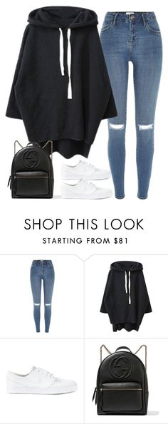 """Untitled#4591"" by fashionnfacts ❤ liked on Polyvore featuring River Island, NIKE and Gucci"