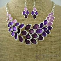 purple lupin flowers silver necklace set