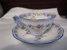 Royal Albert Crown China RARE Butterfly Handle Blue Teacup Saucer 767526 A F | eBay