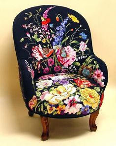 "Lovely heart things: needlework, decor and much more: ""Embroidered furniture - it's stylish"" More vibrant chairs & stools."