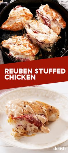 Reuben Stuffed Chicken Is The Best Think You Can Do With A Chicken BreastDelish. *****tweak dressing to make it low carb/keto Soup Appetizers Soup Appetizers dinners carb Soup Appetizers Appetizers with french onion Low Carb Dinner Recipes, Cooking Recipes, Healthy Recipes, Cooking Ideas, Diet Recipes, Dressing, Stuffed Chicken, Chicken Recipes, Keto Chicken