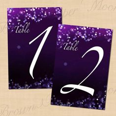 Purple Night Sky Wedding Reception Table Numbers by BrownPaperMoon, $10.00
