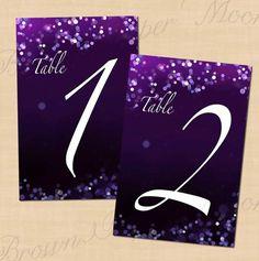 Purple Night Sky Wedding Reception Table Numbers by BrownPaperMoon, $10.00