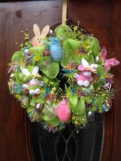Easter Bunny Deco Mesh Wreath.