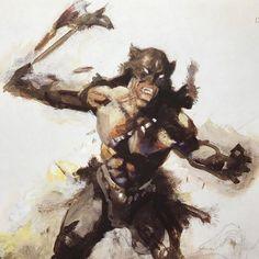 "#FrankFrazetta ""Darkwolf"" Preliminary sketch •1980s• Ulfhednir"