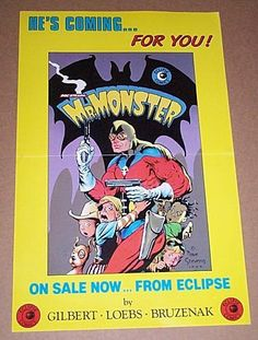 Original 1985 Doc Stearn Mr Monster Eclipse Comics promo poster:Never for sale 1980's comic book shop promotional poster/art by Dave Stevens. SEE 1000's MORE RARE VINTAGE MARVEL AND DC COMICS SUPERHERO POSTERS AND COMIC BOOK ART PAGES FOR SALE AT SUPERVATOR.COM