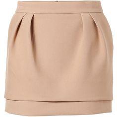 MAJE Camel Mini-Skirt (€120) ❤ liked on Polyvore featuring skirts, mini skirts, bottoms, saias, gonne, faldas, sexy skirt, red mini skirt, sexy short mini skirts i sexy miniskirts