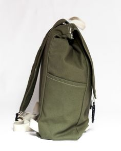 Side Detail of the Classic in Olive $70.00
