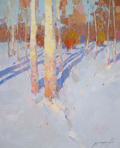 Birches Trees Landscape Original oil Painting on Canvas