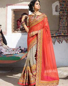Net and Viscose Grey and Orange Designer Half and Half Saree Latest Indian Saree, Indian Sarees Online, Indian Designer Sarees, Latest Designer Sarees, Wedding Sarees Online, Saree Wedding, Bridal Lehenga, Indian Wedding Wear, Indian Wear