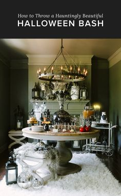 You'll Want to Pin This Hauntingly Beautiful Halloween Bash: This terrifyingly chic Halloween party was originally featured on Style Me Pretty and will definitely inspire your next haunted Halloween bash! Retro Halloween, Halloween Chique, Holidays Halloween, Spooky Halloween, Happy Halloween, Halloween Decorations, Halloween Party, Halloween Ideas, Classy Halloween