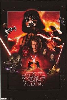 A great Star Wars poster of Villains of the Dark Side of the Force! Darth Vader, Darth Mull, Jabba the Hutt, and more. Fully licensed - 2012. Ships fast. 22x34