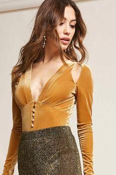 Velvet Button-Front Bodysuit