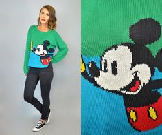 MICKEY MOUSE knitted vtg 80s blue/green disney by discoleafvintage