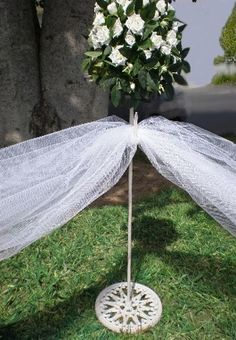 """30"""" Antique WHITE Cast Iron Wreath or Tulle Stancheons Stands $10 each / 6 for $8.99 each"""