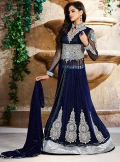 #NavyBlue Emroidered wedding #Anarkali On net fabric top with viscose butta, santoon inner and bottom and net dupatta. Pearls, Diamonds and Stone work are present on this heavy suit.