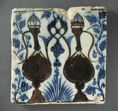 Tile | Origin: Syria or Egypt | Period:  15th century | Collection: The Madina Collection of Islamic Art, gift of Camilla Chandler Frost (M.2002.1.119) | Type: Ceramic; Architectural element, Fritware, underglaze-painted, 8 3/8 x 8 1/4 in. (21.27 x 20.95 cm)