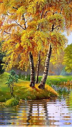 #КАРТИНКИ. #Красивая #анимация. #Осень....Я слышу дыхание осени Прохладное, приторно-свежее, Деревья с пурпурною проседью Ласками ветра изнежены…
