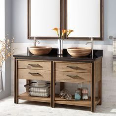 Celebration Console Double Vanity for Rectangular Undermount Sinks - Rustic Acacia - Bathroom Vessel Sink Vanity, Double Sink Vanity, Vanity Cabinet, Semi Recessed Sink, Modern Master Bathroom, Rustic Chic, Rustic Decor, Rustic Furniture, Bathroom Vanities