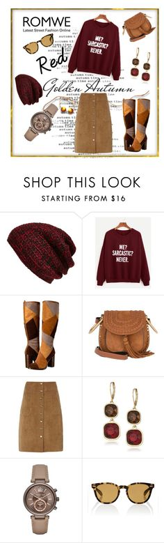 """""""#Red Golden Autumn @Romwe"""" by shaheenk ❤ liked on Polyvore featuring King & Fifth Supply Co., Frye, Chloé, Dorothy Perkins, Anne Klein, Michael Kors and Oliver Peoples"""