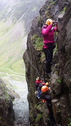 The Via Ferrata at Honister Slate Mine, Lake District, England - check out the casual footwear.