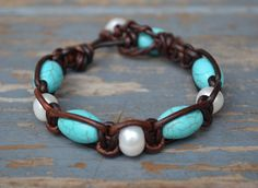 Pearls and Turquoise On Leather Leather Pearl by JewelryByYevga