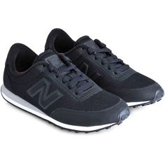 New Balance Model U410 sneakers ($105) ❤ liked on Polyvore featuring shoes, sneakers, black, new balance shoes, new balance footwear, black shoes, black sneakers and new balance trainers