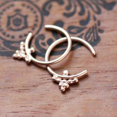 Rose gold hoops  solid gold hoop earrings, bohemian jewelry, boho style jewelry, little henna hoops, inspired by henna tattoos $120 by metalicious