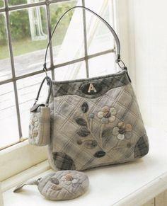 Set Bag Handbag purse mobile phone coin purse wallet women sewing quliting quilt patchwork applique pdf pattern e patterns. $5.00, via Etsy.