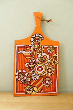 Orange Yellow Pink Flower Power Cutting Board by meggyleves