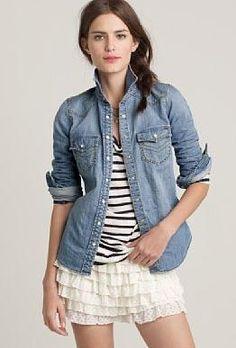 denim + navy stripe t + white tiered skirt