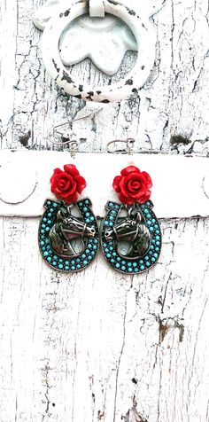 Horse Red Rose Earrings Turquoise Earrings Horseshoe Earrings by SecretStashBoutique