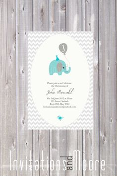 Send a smile to your loved ones in style this year with this modern invitation! This listing is for a customised birthday Christening or Printable Birthday Invitations, Custom Invitations, Invitation Design, Party Invitations, Baptism Party, Baptism Ideas, Baby Boy Christening, Elephant Birthday, Naming Ceremony