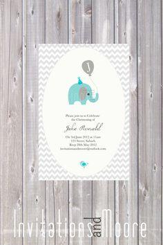 Boys chevron Elephant Invitation - DIY Printable/ Christening / Baptism