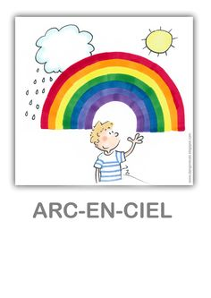 arc-en-ciel - rainbow in French Math For Kids, Fun Activities For Kids, French Flashcards, Seasons Activities, French Colors, Weather Unit, French Classroom, Nursery School, French Lessons