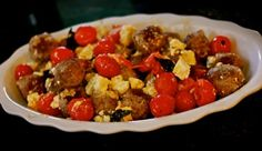 Best Home Chef Recipe --- Beef Meatballs Roasted with Cherry Tomatoes & Goat Cheese #food #dinner