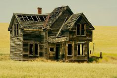 """""""Old West House"""" -- [Abandoned house in a field of wheat on Emerson Loop Road near The Dalles in Central Oregon.]~[Photograph by swainboat (gary) - July 4 2008 - Wrentham, Oregon - US]'h4d-24.2013'"""